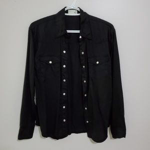 """Wilfred free xs black """"western"""" button up"""
